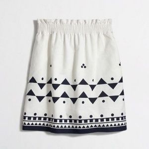 J. Crew White and Blue Linen Mini Skirt, Sz. 8